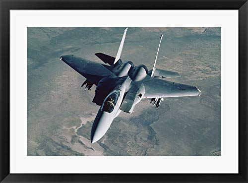 F-15 Eagle Fighter Jet U.S. Air Force Framed Art Print Wall Picture, Black Frame, 32 x 24 inches