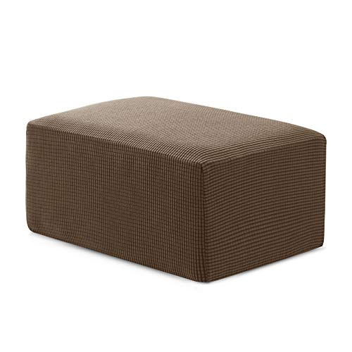 Hokway Ottoman Slipcovers Stretchable Storage Ottoman Covers Foot Rest Sofa Slipcovers Furniture Protector Covers(Coffee, Oversize) ()