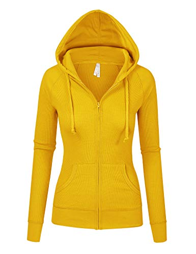 - Womens Mustard Color Thermal Zip Up Casual Hoodie Jacket (8035_Mustard_M)