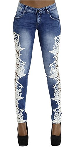 Allonly Women's Fashion Skinny Fit Stretch Low Rise Embroidered Jeans Pencil Pants With (Lace Low Rise Jeans)