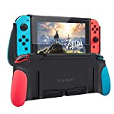 Protective Case for Nintendo Switch,Dockable Cover Case for Nintendo Switch,Grip Cover in Silicone with Anti-Scratch and Shock-Absorption Soft TPU,HD Screen Protector Included (Red and Blue)