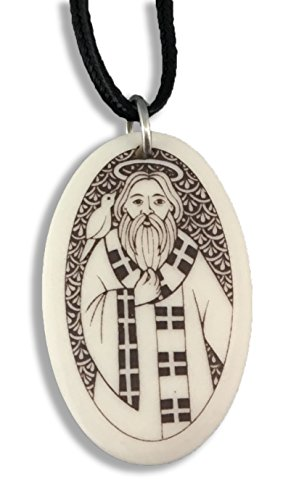 Touchstone St David Porcelain Oval Medal on Braided Cord | Patron Saint of ()
