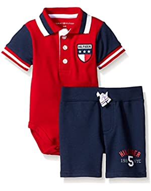 Tommy Hilfiger Baby Boys' Solid Interlock Bodysuit and French Terry Shorts