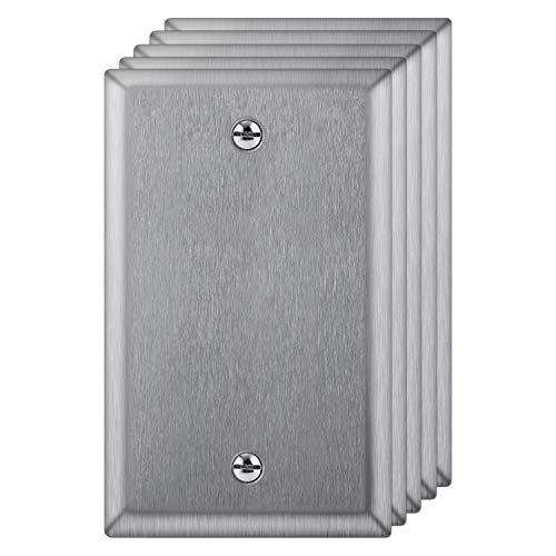 "[5 Pack] BESTTEN 1-Gang Blank Metal Wall Plate, No Device Stainless Steel Wallplate, Durable Anti-Corrosion Industrial Grade Materials, Standard Size, H4.53"" x W2.76"", Brushed Finish, Silver"