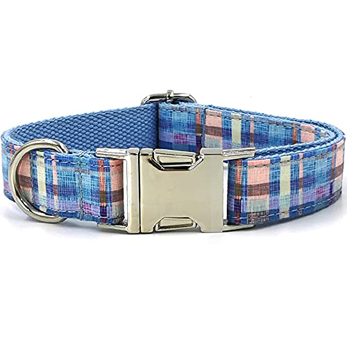 """Ulrico1 Elegant Personalized Printing Dog Collar Soft Comfortable Adjustable Metal Buckle Collar for Small Medium Large Dogs Pets Puppy (Blue Plaid, XL 22-24.4"""")"""