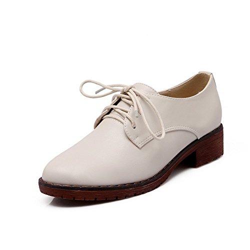 AllhqFashion Damen Rein Schnüren Weiches Material Rund Zehe Pumps Schuhe Cremefarben
