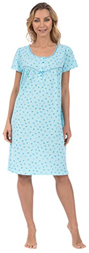 Knee Length Chemise - Pink Lady Women's Knit Short Nightgown (Turquoise Floral Large)