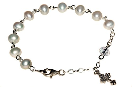 Sterling Child Rosary Bracelet made w/ C - Cultured Pearl Rosary Bracelet Shopping Results