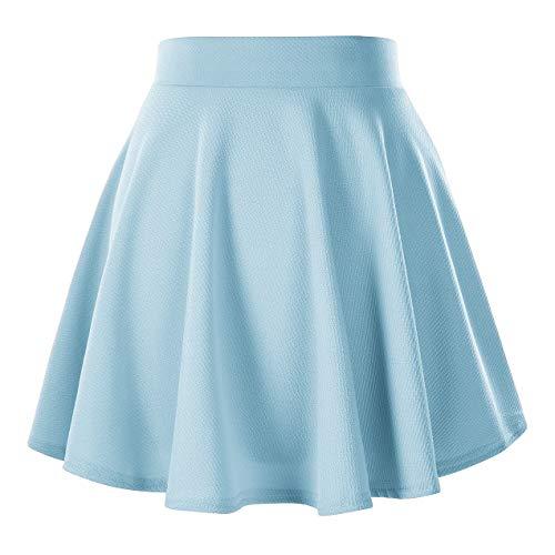 Gonna GoCo Urban Pattinatrice da Moda Svasata Elastica Gonna Donna Chiaro Versatile Mini Colore Solida Blu 7draqdw