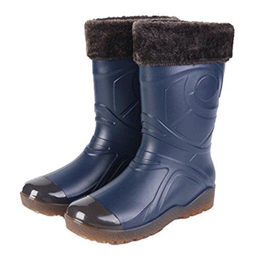 Sgoodshoes Bottes de Pluie Hiver Homme Bottines en Caoutchouc Chaussure Imperméable Wellies avec Doublure Fourrure Chaudes, Bleu 40