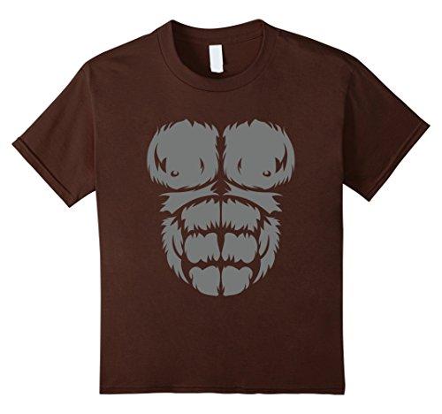 Kids Gorilla chest T-Shirt Halloween costume 10 Brown (Youth Gorilla Costume)