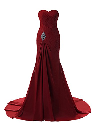 - Lily Weddding Womens Sweetheart Mermaid Prom Bridesmaid Dresses 2018 Long Formal Evening Ball Gowns FED00302 Burgundy Size18 Plus