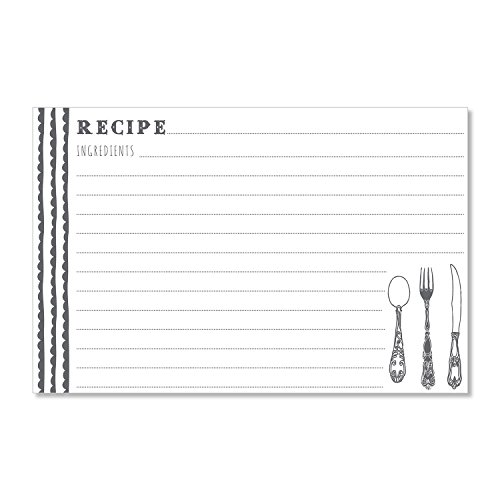 C.R. Gibson 40 Count Recipe Cards, Lined Back To Front, Cards Measure 4'' x 6'' - Charcoal/White by C.R. Gibson