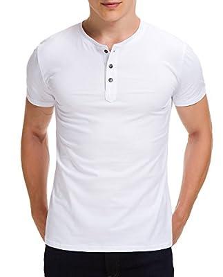 Boisouey Men's Casual Slim Fit Short Sleeve Henley T-Shirts Cotton Shirts