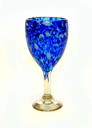 SET OF 4, AQUA CONFETTI WINE GLASSES, RECYCLED GLASS-14 OUNCES by Laredo Import