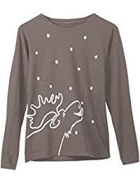 Women's Marushka Moose Lick Long Sleeve T-Shirt - Charcoal - XXL