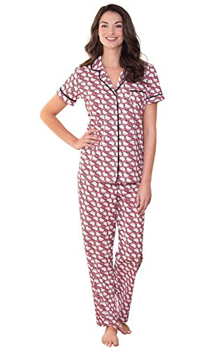 PajamaGram Women 's Hello Kitty Pajamas w/Short-Sleeved Top and Pants Multi Medium / (Womens Hello Kitty Clothes)