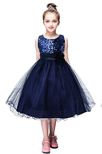 (YMING Tutu Weeding Sequin Dress Round Neck Grow Tutu Tulle Dress Navy Blue 5-6)