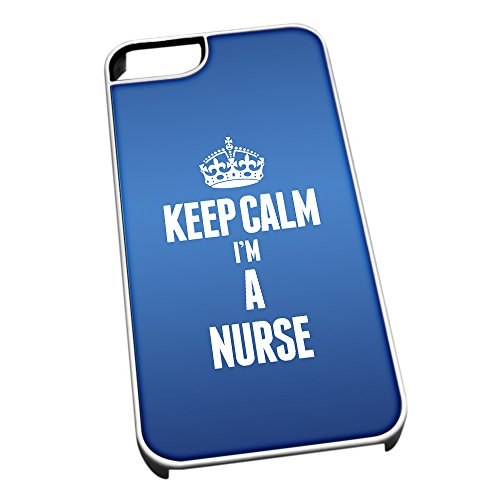 Bianco cover per iPhone 5/5S blu 2634 Keep Calm I m A nurse