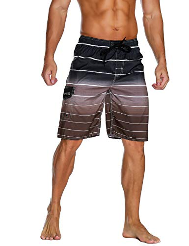 Unitop Men's Colortful Striped Swim Trunks Surfing Beach Board Shorts with Lining Coffee-36 (Brown Striped Shorts)