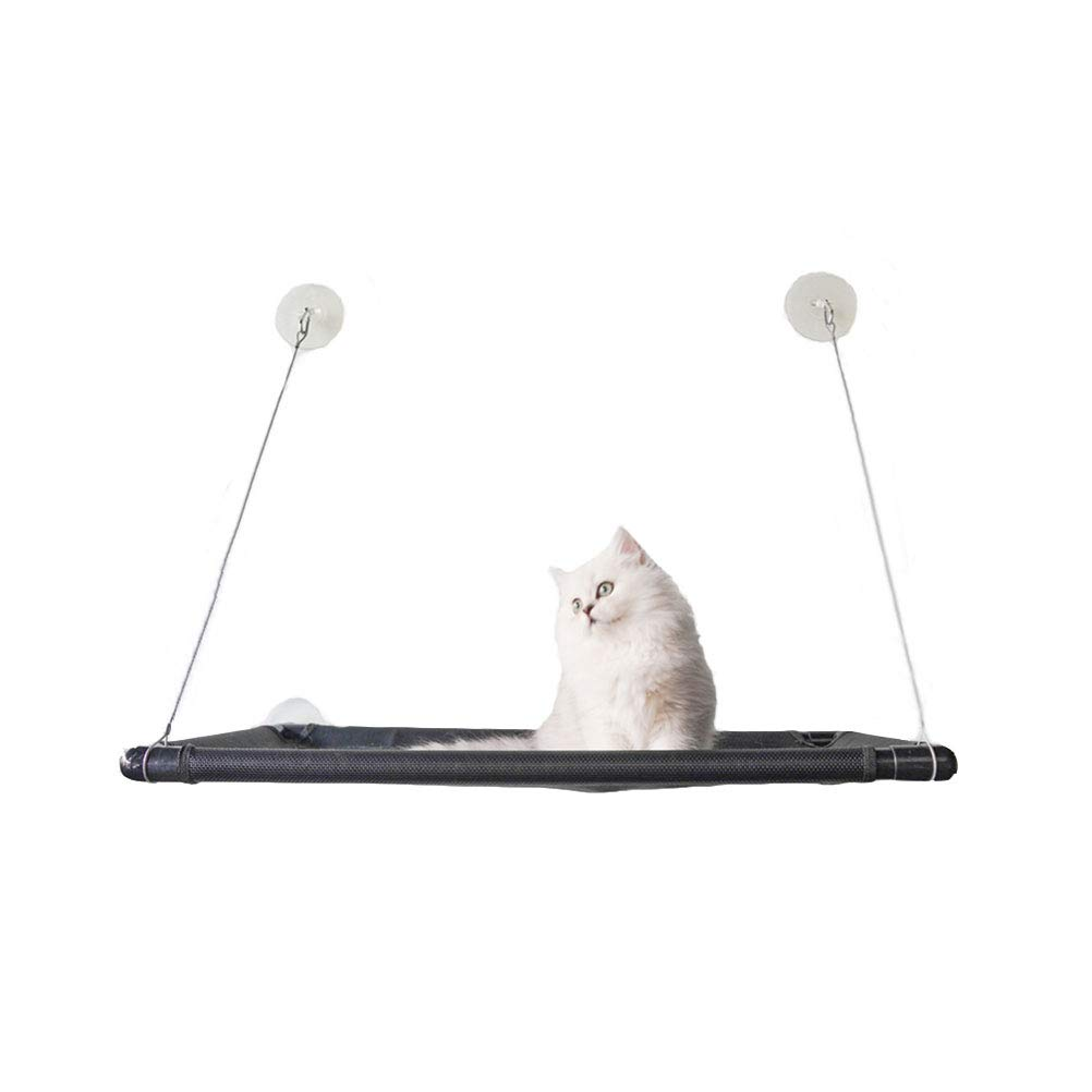 BLACK GCHOME Dog bed Cat hammock,Window mounted cat basking sun Perch bed,Washable suspension suction cup pet hanging bed Cat Bed,Strong Durable (color   BLACK)