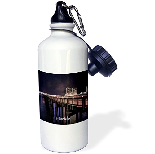 3dRose Florida - Image of Panama City Pier At Night - 21 oz Sports Water Bottle - Pier Panama City