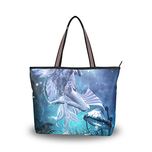 Fairy Purse (JSTEL Women Large Tote Top Handle Shoulder Bags Fairy Magic Butterfly Mushrooms Patern Ladies Handbag L)