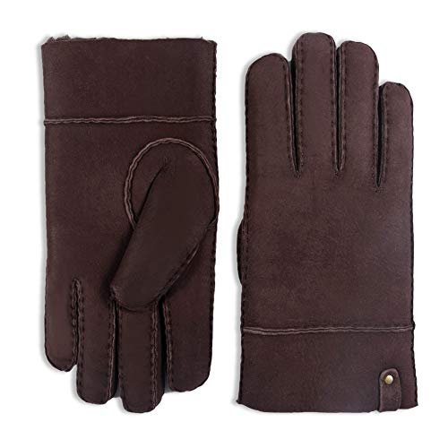 YISEVEN Men's Merino Rugged Sheepskin Shearling Leather Gloves Mittens Sherpa Fur Flip Cuff Thick Wool Lined and Heated Warm for Winter Cold Weather Dress Driving Work Xmas Gifts, Dark Brown Small