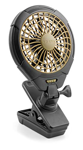 - Treva 5 Inch Battery Powered Clip Slim and Portable Cooling Fan with Clamp for Travel, Outdoor,Camping, Car, Office Desk, Baby Stroller - Multi-Directional Rotating and Adjustable Head, Khaki