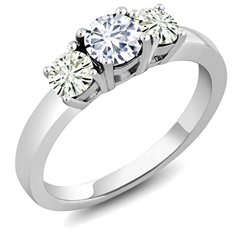 Round Moissanite 3 Stone Ring - 925 Sterling Silver 3-Stone Ring Timeless Brilliant (IJK) Round 0.96ct (DEW) Created Moissanite by Charles & Colvard (Size 5)