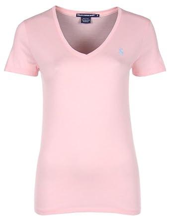 Ralph Lauren - T-shirt col V - rose pâle - femme - Taille XL  Amazon ... dff1a0c612bd