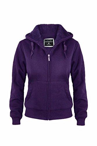 Women's Full Zip Soft Sherpa-Lined Fleece Hoodie Purple - Juniors Sherpa
