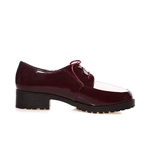 Allhqfashion Womens Tacco A Spillo Tacco Basso Stringate In Colore Assortito-scarpe Rosse