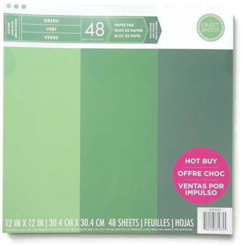 Craft Smith 12-inch by 12-inch Paper Pad, Greens, 48 Sheets Green Colored Pad