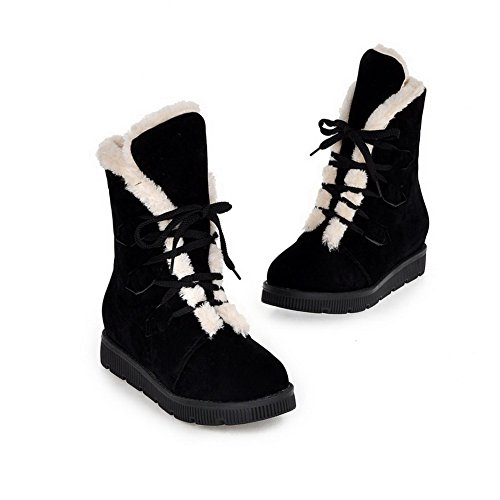 Toe Round Solid Heels Black Low Closed Women's Low Frosted Top Boots WeenFashion A1wqpnRx