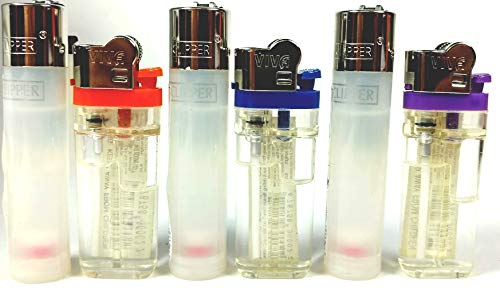 Clear Clipper and Viva Crystal Transparent See Through Lighters 6 Pack