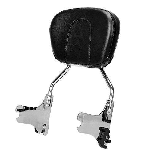 Ambienceo Sissy Bar Backrest Chrome Detachable Back Seat Cushion Pad for 1997-2008 Harley Touring Road King FLHT 1997 1998 1999 2000 2001 2002 2003 2004 2005 2006 2007 2008 by Ambienceo