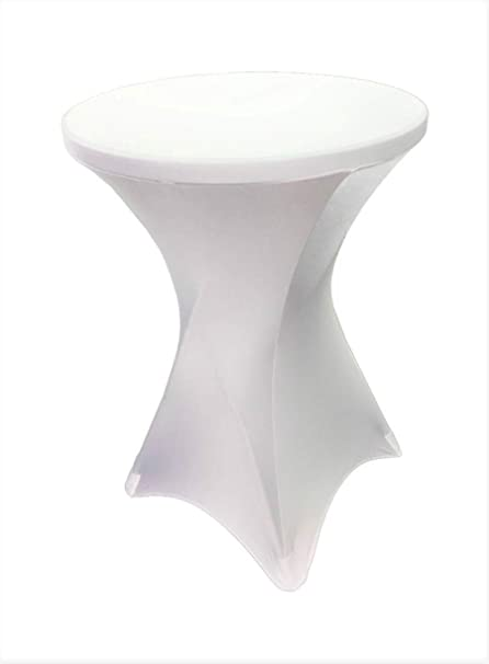 Amazoncom Event Linens White Spandex Cocktail Table Cover Fitted