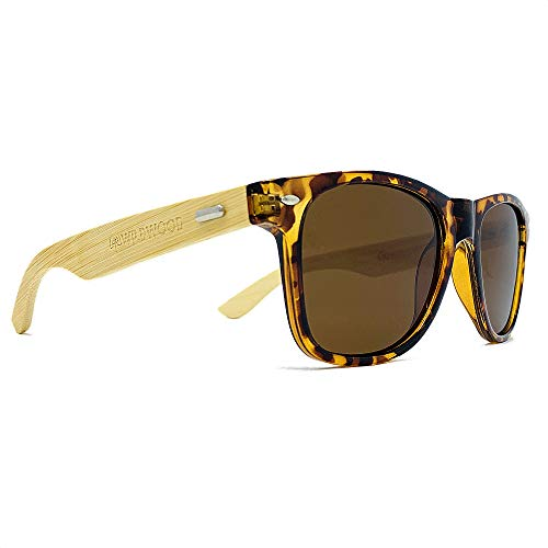 ♻️ Wildwood Polarized Sunglasses with Recycled Frames and Bamboo Wood Arms for Men and Women (Brown (Tortoise Shell ()