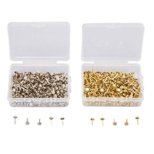 Genie Crafts 500 Piece Metal Paper Fastener Brads with Storage Box for Crafts and Scrapbooking, Gold and Silver, 9x4mm