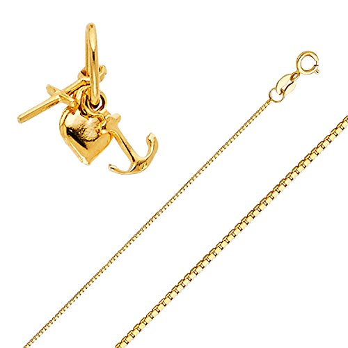 - Top Gold & Diamond Jewelry Solid 14K Gold Box Chain Faith, Hope, and Charity Pendant Necklace - Choose Length 16