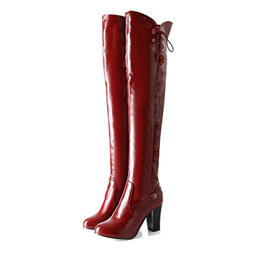 Rouge AnMengXinLing Femme vin Cuissardes Bottes 36 5 BUKA 70 7022 Rouge wqSw0Cp