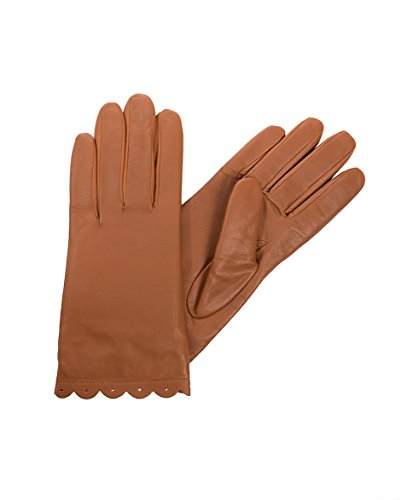 Isotoner SmarTouch Enabled All Over Leather Scalloped Tech Gloves (7,...