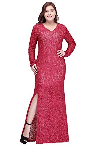 MisShow Women Plus Size Lace Sweetheart Mermaid Fishtail Cocktail Evening Dress