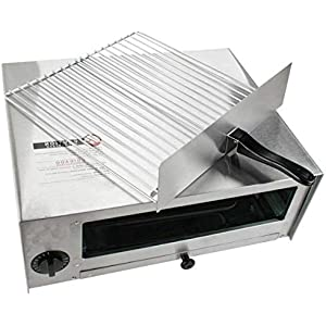 Picotech Stainless Steel 1450 watt Manual Pizza Oven Pan Silver Durable Sturdy Heavy Duty Contemporary Suitable for Home Restaurant Cafeteria Countertop Kitchen Baker Party Commercial Use Event