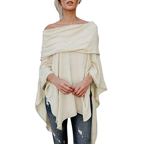 Women Slash Neck Irregular Hem Shirt, Franterd Off Shoulder Casual Tops Blouse Wrap (Beige, XL)