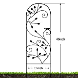 """Amagabeli 2 Pack Garden Trellis for Climbing Plants 46"""" x 15"""" Black Sturdy Iron Potted Support Vines Vegetable Flower Patio Metal Wire Lattices Grid Trellises for Ivy Rose Grape Cucumber Clematis GT03"""