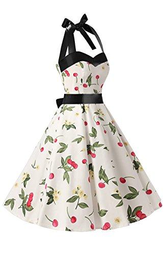 Vestito Collo Cocktail Vintage Con Polka Kuonuo 1950's Donne Hepbun Allacciatura Di Ciliegia Bianco Al Audrey Dots Swwq4AT