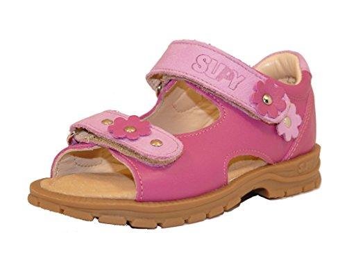 Supykids MIMI MI400 Rose Fuchsia avec des Fleurs Filles Enfants Sandales en Cuir Supination Prévention de Pied Plat