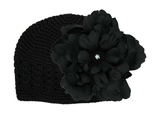 Black Crochet Hat with Black Large Peony, Size: 12-18m (Peony Black Crochet)